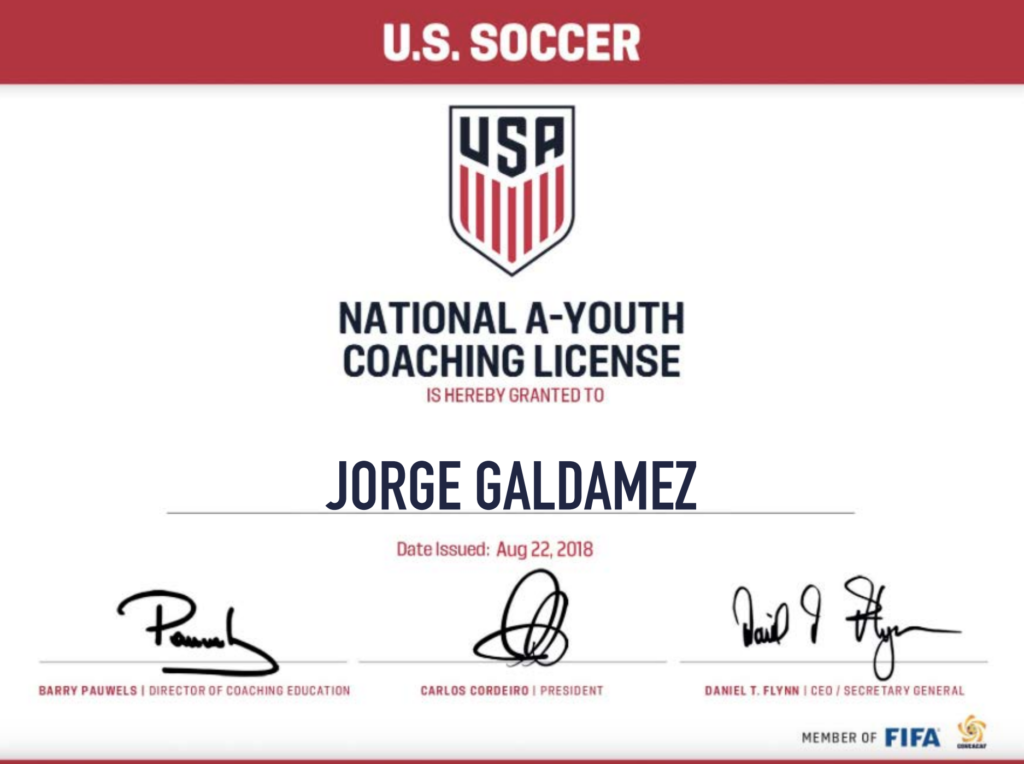 orge Galdamez Youth A License